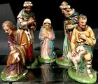 Vintage CS COLUMBIA STATUARY Chalkware Joseph Mary Wisemen Nativity Figurines