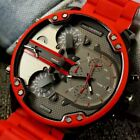 New Diesel Mr. Daddy 2.0 Gunmetal Red Chronograph 4 Time Zone Men's Watch DZ7370