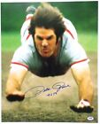 PETE ROSE Reds Signed 16X20 Head First Slide Photo Inscribed