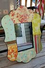 Kate McRostie Mirror Scalloped Floral Wallpaper Collage Wall Mirror 24 1/2