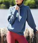 FREE PEOPLE MOVEMENT BLUE FRONT POCKET COWL NECK FLETCHER RUN RELAXED HOODIE XS