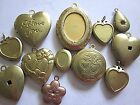 MIXED VTG  MODERN LOCKETS LOT RAW BRASS FINDINGS JEWELRY HEARTS PENDANTS CHARMS