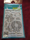 NEW Lawn Fawn Clear Stamps LF333 BOW AND HOLLY WREATH PRESENT TAG