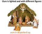 LIFE LIKE NATIVITY SCENE BY FONTANI WITH LIGHTED STABLE 8 YRS OLD