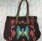 Tasha Polizzi Brown Canvas Leather Tote Hand Bag Bird Floral Boho Size Large