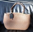 Authentic Falor Woven Leather Made In Italy Tan Tote NWT Gorgeous