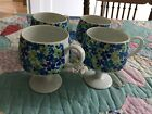 Set of 4 Blue/Green Floral Vintage Stemware  RETRO