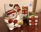 Fitz and Floyd Plaid Christmas Snowman Present Salt Pepper 2063/127 New in Box
