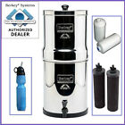 Travel Berkey Water Filter Purify w 2 Black Filters and 2 PF-2  and Sport Bottle