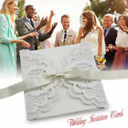 50pcs Personalised Wedding Invitation Cards Laces Laser Cut With ENVELOPES USA