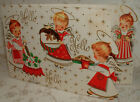 Gold Dbl Sided Angels Baking Sweets 1950s Vintage Christmas Greeting Card