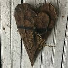 Set of 2 Beeswax Coated Hearts Grungy Coated Hanging Primitive Valentine Love