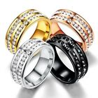 Men Women 8MM Stainless Steel CZ Titanium Ring Band Size 6 12 Engagement Wedding