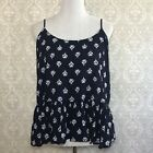 Old Navy Womens XL Navy Blue Peplum Adjustable Cami Floral Tank Top Shirt Rayon