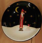 Large CERTIFIED INTERNATIONAL Midnight SANTA CLAUS Barton CHRISTMAS Pasta BOWL