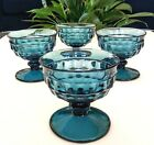 Set of 4 Teal Blue Whitehall Colony Indiana Glass Cubist Cube Pattern Sherbets