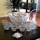 Glass Punch Bowl Set Complete 26 Pcs  Anchor Hocking Arlington Crystal Clear