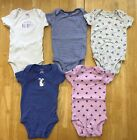 Baby Girls Lot 3 Months Carters Pink Purple Flower Heart Bodysuits Tops Set