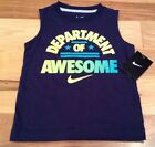 Nike Boys Size 6 Summer Shirt Department Of Awesome Navy Blue Shirt Nwt