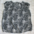 Old Navy Womens Plus XXL Gray black white leaf peasant thin knit blouse shirt