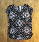 Womens Old Navy Floral Diamond Tile Design High Low S S Rayon Blouse Top Sz M