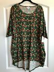 NWT LuLaRoe Irma Tunic Large Red Pink Yellow Floral on Green