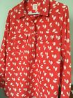 old navy red w owl print fitted boyfriend shirt ladies XL