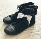 UGG Size 5 Black Suede Sparkly High Top Sneaker Booties Detachable Bow