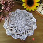 Floral Hand Crochet Cotton White Beige Doily Round Flower Table Placemat Vintage