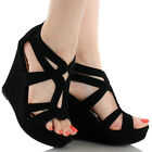 SIZE 65 BLACK HIGH HEEL WEDGE SUMMER SANDAL WOMAN OPEN TOE PARTY GIRL SHOE