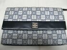 GIVENCHY VINTAGE VERY RARE DARK BLUE GENUINE LEATHER LOGO CLUTCH PURSE