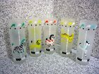 VTG Set 5 Libbey CIRCUS ANIMAL Glass Tumblers Carousel Merry Go Round Frosted