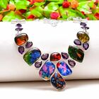 Luxurious Dichroic Glass, Amethyst Gemstone Ethnic Jewelry Necklace 18