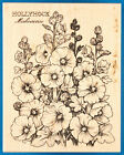 PSX K 2201 Hollyhock Botanical Rubber Stamp Tall Garden Flower Spikes Mallow