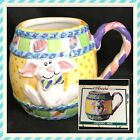 3D Ceramic Coffee Cup/ Mug with Embossed Rabbit/ Bunny Ariela Collection Vintage