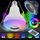 E27 Bulb Speaker Bluetooth LED Light Music RGB Color Wireless Remote 12W Lamp US