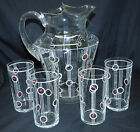 Antique Art Deco Glass Ice Tea Pitcher & 4 Tumbler Set w/ Red & Black Polka Dots