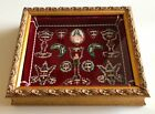 Antique Multi Saints FRAME RELIQUARY w Seal  Threads 30 RELICS
