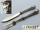 Pair Fruit Fork + Fruit Knife Empire Style Russia Fraget 84 Zolotnik Silver E382