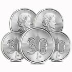 Lot of 5 - 2018 1 oz Silver Canadian Maple Leaf 30th Anniversary $5 Coin BU