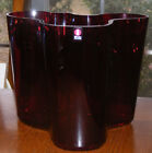 Iittala Glass Alvar Aalto Ruby Red Vase Finland Scandanavian VERY Rare Eames