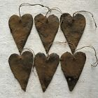 Set of 6 Beeswax Coated Hearts Grungy Ornaments Primitive Valentine Love Folkart