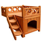 Dog Puppy Pet House Wooden Room with Roof Balcony Bed Shelter Outdoor