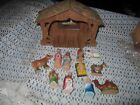 Old Fashioned Vintage NATIVITY SET Christmas OLD Cardboard STABLE MANGER