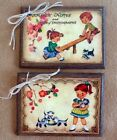 5 Handcrafted Wooden RETRO SCHOOL DAYS Hang Tags/Ornaments/Teacher Gift SET1Sc