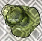 Vintage CHIP  DIP Set Anchor Hocking Bowls Green Glass Party Entertaining