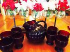 JEANETTE RUBY RED DEPRESSION GLASS PITCHER  WITH EIGHT 4