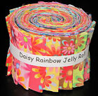 Daisy Rainbow Multi Color Fun Jelly Roll 17 Cotton Fabric Strips 25 Wide X 44