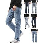 Mens STRAIGHT JEANS Slim Fit Stretch Denim Pants Casual Distressed Ripped