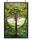 Tiffany Tree of Life Stained Art Glass Panel 10 x 65 with Hanging Chain